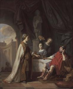 Odysseus in het paleis van Circe. Na de vergiftigde drank geweigerd te hebben weerstaat hij haar verzoek om cgenade