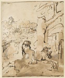 De H. Hieronymus lezend in een italiaans landschap