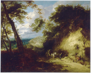 Boslandschap met reizigers op een zandweg
