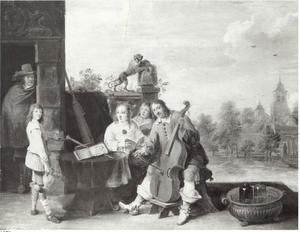 Musicerende familie op een terras