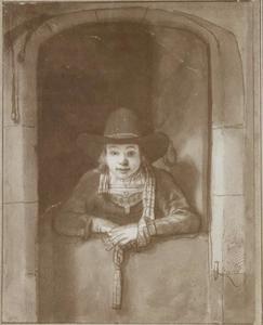 Jongen met hoed aan de onderdeur