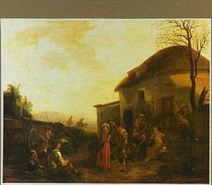Dansende en drinkende boeren voor een herberg