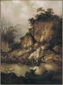 Twee jagers in een roeiboot