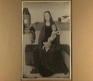 Maria met kind, gezeten op een zodenbank