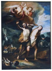 De verdrijving van Adam en Eva door engelen uit het paradijs (Genesis 3:23-24)