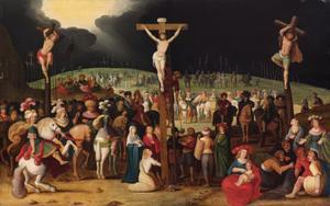 De kruisiging van Christus en de twee moordenaars op Golgotha (Matteüs 27:45-58; Marcus 15:33-45; Lucas 23:44-52; Johannes 19:25-38)