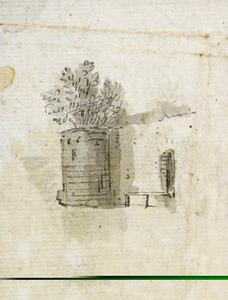Schets van een deel van een stadsmuur