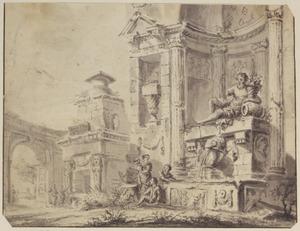 Klassieke architectuur met fontein en figuren