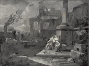 Angelica en Medoro in een italianiserend landschap met ruïnes