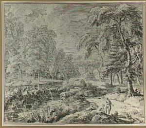 Arcadisch rivierlandschap met badende minfen
