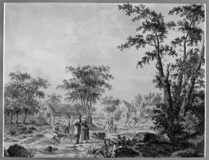 Landschap met figuren bij een dorp