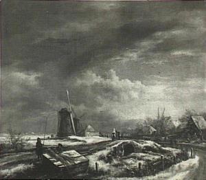 Winterlandschap met twee molens; op de voorgrond rietsnijders