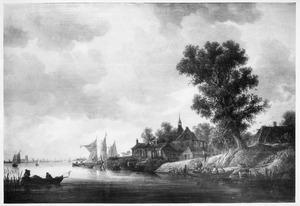 Gezicht op Papendrecht aan de Beneden Merwede, met Dordrecht in het verschiet
