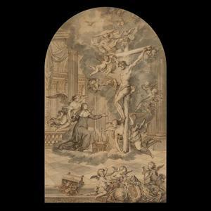 De gekruisigde Christus verschijnt aan de H. Begga
