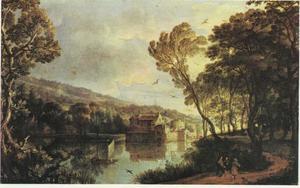 Landschap met zicht op een kasteel in een meer