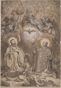 De hemelse kroning van de Heilige Ignatius en de Heilige Xaverius