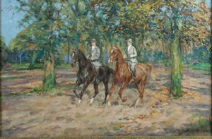 Echtpaar rijdend in het bos