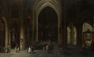 Een kerkinterieur bij kaarslicht