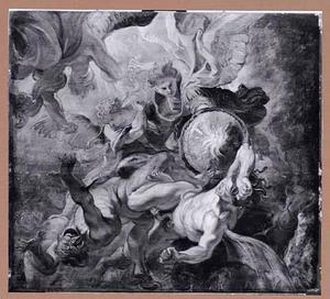 De aartsengel Michael verslaat Satan en de opstandige engelen (Openbaringen 12:7-9)