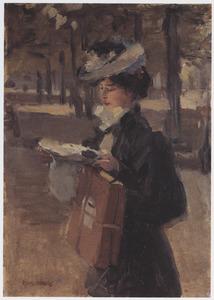 Een midinette lezend in Bois de Boulogne, Parijs