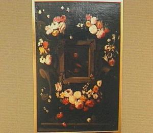 Bloemenkrans rond een voorstelling van Franciscus van Assisi