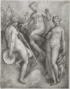Venus, Juno en Minerva in afwachting van het oordeel van Paris