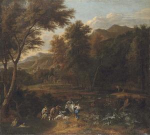 Arcadisch landschap met vrouwen die een witte koe omkransen