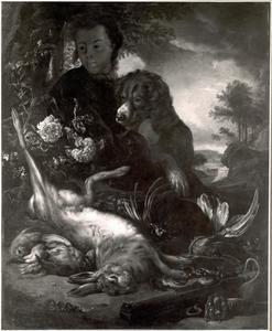 Jonge jager met hond en jachtbuit