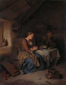 Man en vrouw in gebed voor de maaltijd