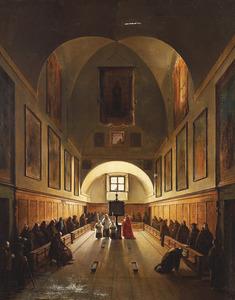 Het koor van de Capucijnerkerk in Rome