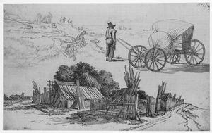 Studies van een boerenerf, een hooiwagen en figuren langs de weg