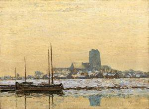 Zonnig winterlandschap bij Dordrecht