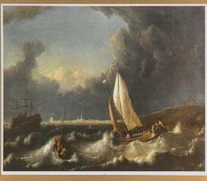 Schepen op de rede van Hoorn in stormachtig weer