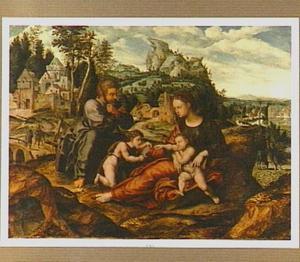 De H. Familie met Johannes de Doper als kind in een landschap