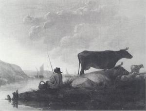 Rivierlandschap met herder en koeien