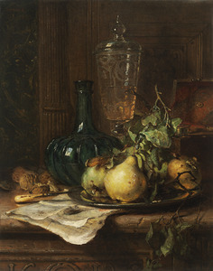 Stilleven met een glas, groene fles en peren