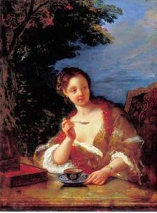 Jonge vrouw die koffie drinkt