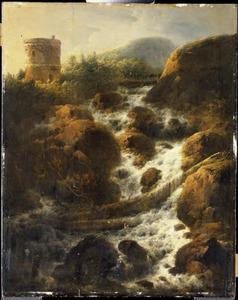 Landschap met vestingtoren bij een waterval, op de achtergrond ezels met hun begeleider