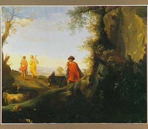 Zuidelijk landschap met op de achtergrond Tobias en de engel (Tobias 6:6)
