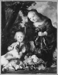 Twee kinderen met een hond en een mand met fruit