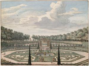 De parterres van het park van het Huis Heemstede bij Houten, gezien in de richting van de orangerie