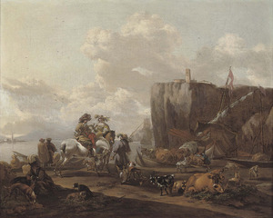 Zuidelijk landschap met reizigers bij een veerpont, op de achtergrond een galei