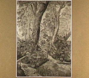 Boslandschap met vijf figuren