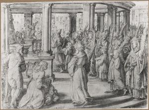 Simon de Makkabeeër trekt de tempel van Jeruzalem binnen en laat de afgodsbeelden omvallen