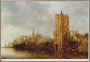 Riviergezicht met de Pellecussenpoort bij Utrecht