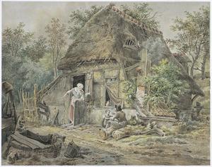 Boerderij met boerin, boer en kind in boslandschap