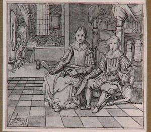 Portret van een jongen en een meisje in een interieur