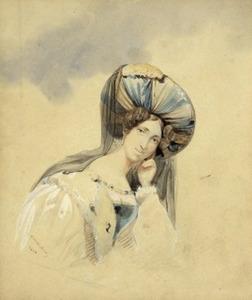 Zelfportret van Hortense Eugenie de Beauharnais (1783-1837)