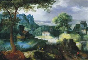 Landschap met Christus en de Emaüsgangers (Lucas:13-35) en een konijnenjacht
