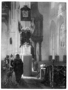 Interieur van een gotische kerk met een vrouw biddend bij een doodskist
